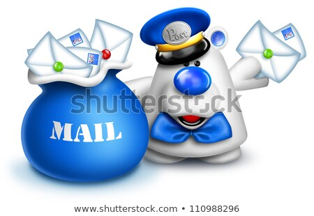 Whimsical Cartoon Polar bear mailman Stock photo © komodoempire