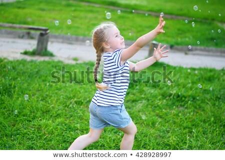 kız · sabun · köpüğü · küçük · kız · gökkuşağı · yaz · park - stok fotoğraf © photography33