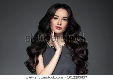 Foto stock: Longo · cabelo · preto · sensual · mulher · jovem · sessão · cama