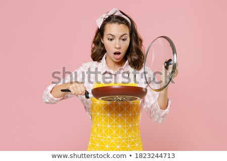 Brunette woman with pan Stock photo © photography33