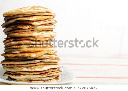 Pannenkoeken voedsel achtergrond aardbei zoete Stockfoto © M-studio