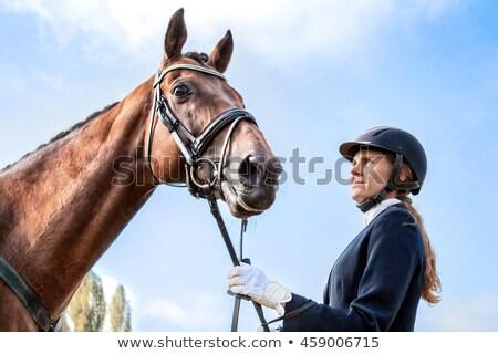 девушки жокей Blue Sky лице моде спорт Сток-фото © Taiga