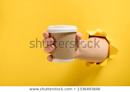 Café fortalecimento desenho animado homem copo engraçado Foto stock © blamb