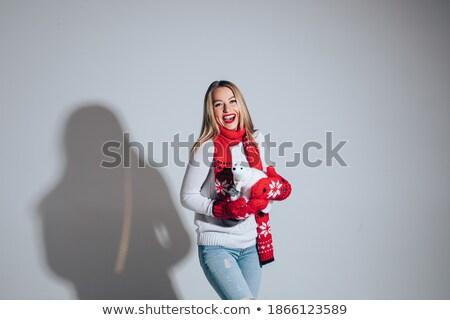 stwarzające · zabawki · ponosi · biały · kobieta - zdjęcia stock © vankad