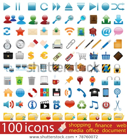 Сток-фото: Hundred Shiny Vector Icons
