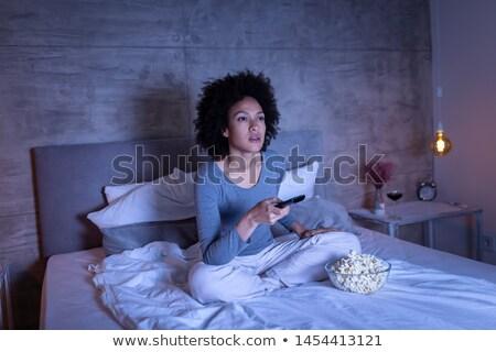 Mooi meisje bed wijn vrolijk blond meisje Stockfoto © justinb