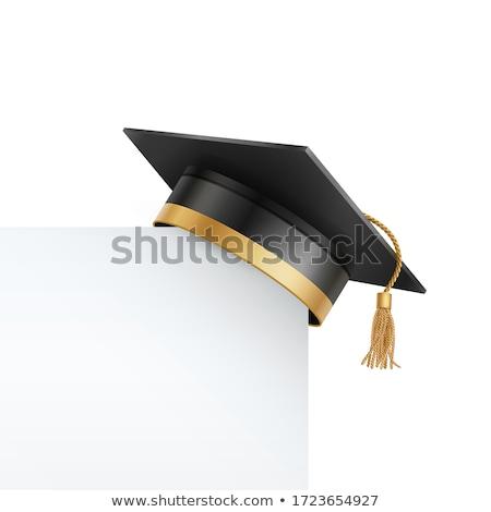 окончания Hat диплом изолированный белый символ Сток-фото © Lightsource