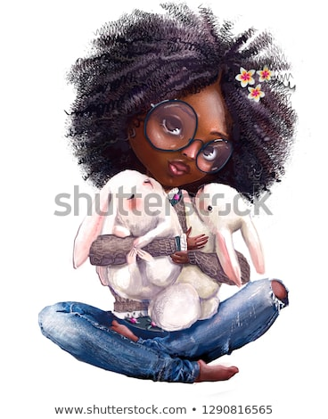 cartoon · illustration · peu · lièvre · enfant · lapin - photo stock © Genestro