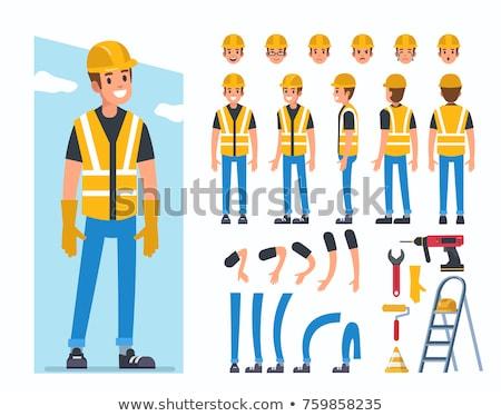 Trabajador de la construcción feliz Cartoon construcción calvo Foto stock © indiwarm