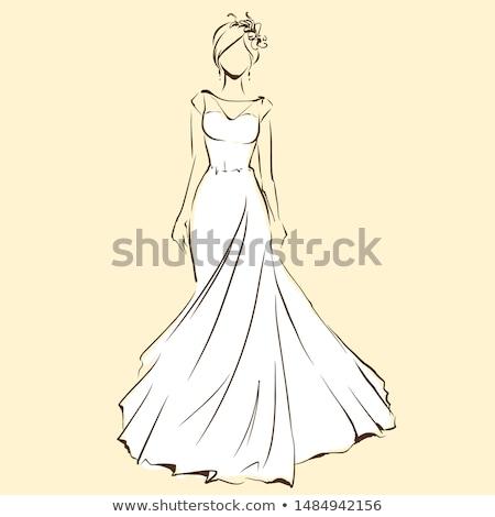 bride in wedding dress vector stock photo © beaubelle
