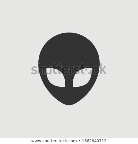 idegen · fej · ikon · rajz · sötét · szemek - stock fotó © fizzgig