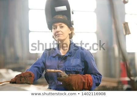 Woman in Welder Stock photo © PetrMalyshev