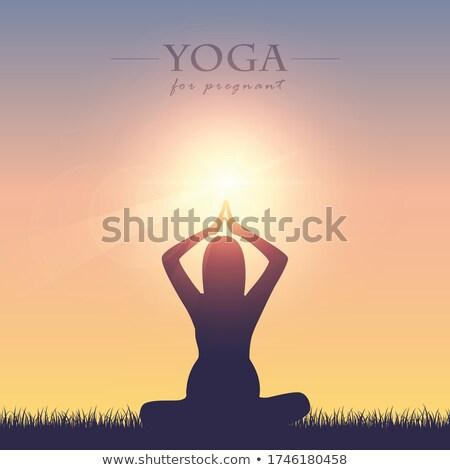 Foto stock: Embarazo · yoga · meditación · clase · saludable