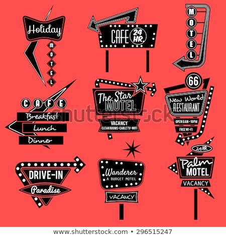 Retro hotel motel borden illustratie ontwerp Stockfoto © alexmillos