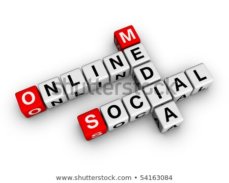 Social Network Icon On Red Puzzle Stok fotoğraf © ALMAGAMI