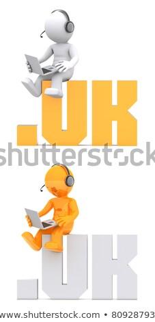 3D характер сидят домен знак изолированный Сток-фото © Kirill_M
