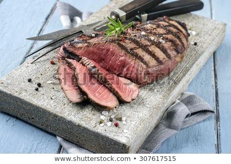 Lendenen biefstuk stuk ruw rosmarijn knoflook Stockfoto © joker