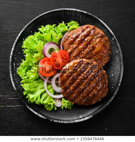hamburger · tányér · étel · asztal · villa · ebéd - stock fotó © M-studio