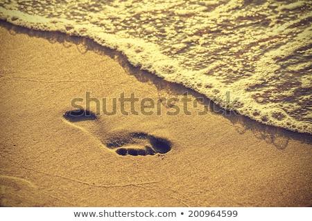 Voetafdrukken zand strand vintage retro-stijl rand Stockfoto © Mikko