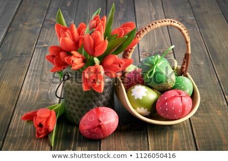 Színes piros húsvét csendélet friss tavasz Stock fotó © juniart
