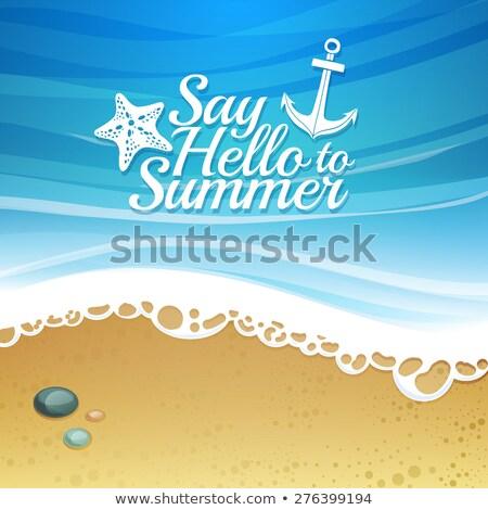 palavra · bem-vindo · escrito · areia · praia · textura - foto stock © jonnysek