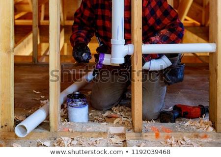 Plombier travail nouvelle maison bâtiment maison architecture Photo stock © monkey_business