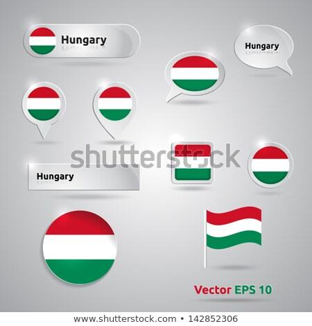 Bandeira papel círculo sombra botão Hungria Foto stock © gubh83
