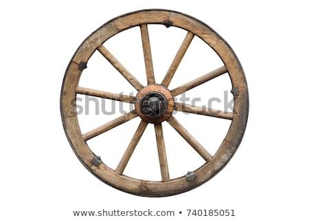 Vagon kerék közelkép rusztikus elnyűtt fából készült Stock fotó © vanessavr
