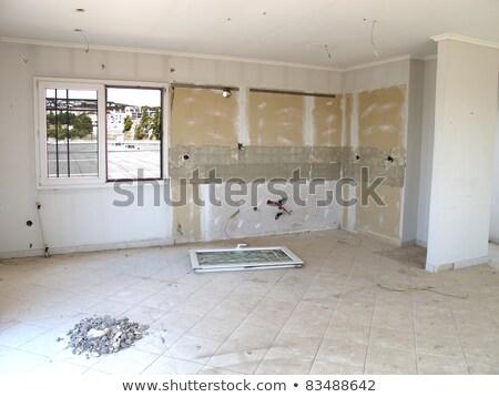 地下 乾式壁 修復 水 ダメージ 家 ストックフォト © ca2hill