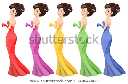 Slim Lady in Green Hair Wearing Pink Sleeveless Stock photo © stryjek