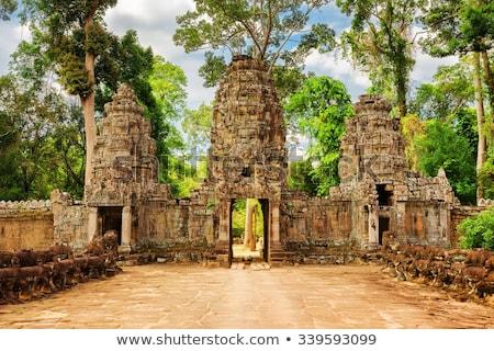 Escultura pormenor templo pedra angkor Camboja Foto stock © prill
