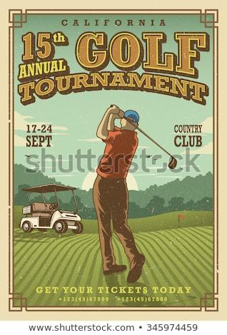 Jogador de golfe cartaz céu nuvens esportes bola Foto stock © leonido