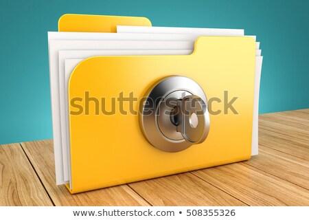 заблокированный папке 3D генерируется фотография желтый Сток-фото © flipfine