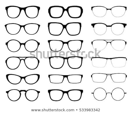 ストックフォト: 眼鏡 · 黒 · 白 · 影 · 読む