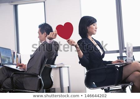 Ofis romantizm adam kadın kucaklamak çalışmak Stok fotoğraf © polygraphus