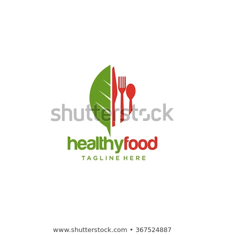 Fork with green leaves- Logo for organic food stock photo © shawlinmohd