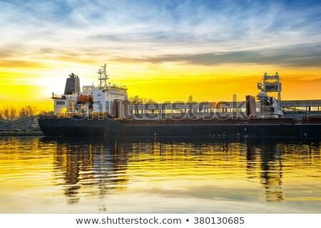 Gemi liman bulutlar sarı yeşillik Bina Stok fotoğraf © papa1266