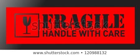 хрупкий знак иллюстрация наклейку дизайна черный Сток-фото © alexmillos