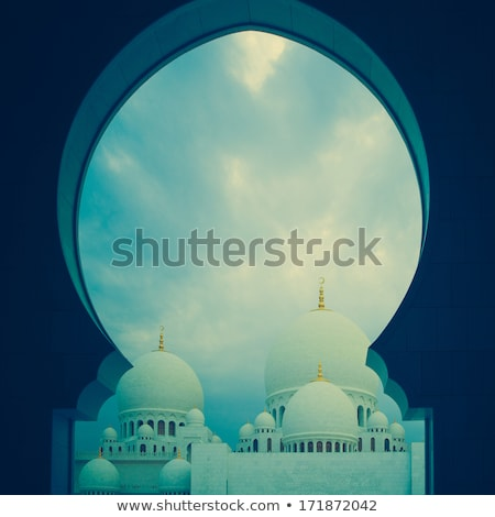 white history heritage islamic monument mosque in abu dhabi Stock photo © fotoduki