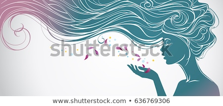 Photo stock: Silhouette · belle · fille · profile · cheveux · longs · stock · isolé