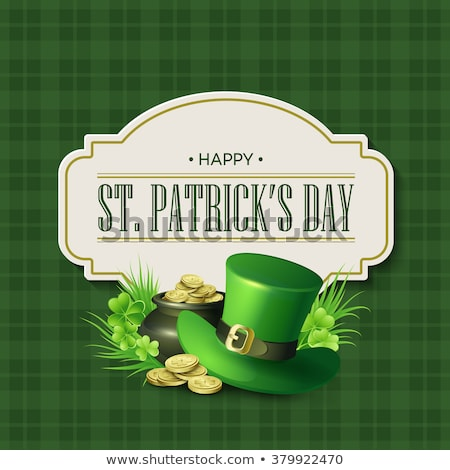 st patricks day poster with paper clover stock photo © voysla
