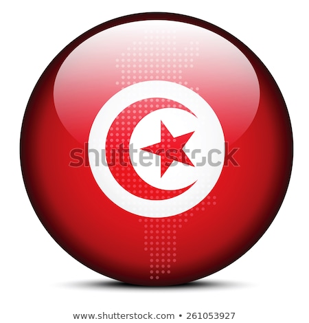 Map with Dot Pattern on flag button of Tunisian Republic Stock photo © Istanbul2009