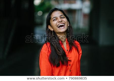 retrato · mujer · ocultación · boca · blanco · manos - foto stock © ziprashantzi