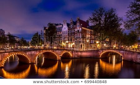 Amsterdam · gece · aziz · kilise · akşam · karanlığı · su - stok fotoğraf © vichie81