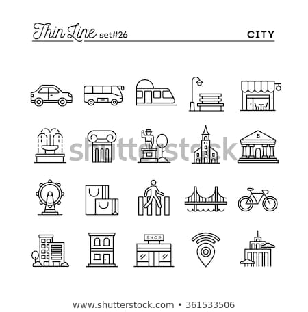building and trees thin line icon stock photo © rastudio