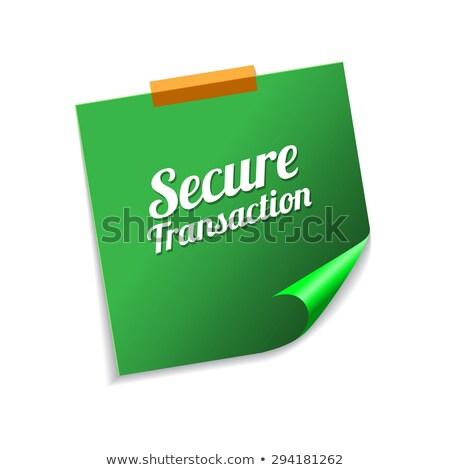 Biztonságos tranzakció zöld cetlik vektor ikon Stock fotó © rizwanali3d