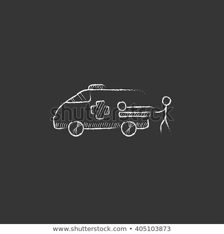 Stock photo: Man with patient and ambulance car icon drawn in chalk.