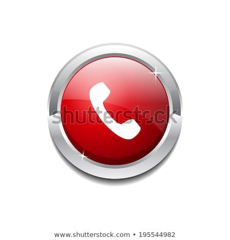 Hívás körkörös vektor piros webes ikon gomb Stock fotó © rizwanali3d