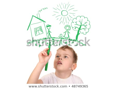 boy drawing  his family by felt-tip pen, collage Stock photo © Paha_L