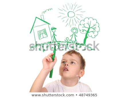 fiú · tető · tündérmese · gyermek · akasztás · csillagok - stock fotó © paha_l